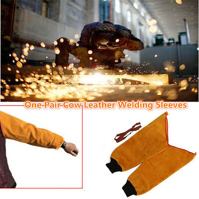 1Pair 45cm Length Welder's Leather Welding Sleeves Protective Splatter Split