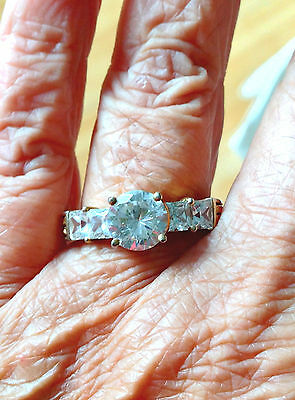 ENGAGEMENT RING CZ  STERLING SILVER 925 STUNNING Sz 10 NEW LARGE ROUND mark DV