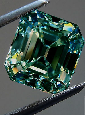 7.22 ct VVS1/GREEN BLUE COLOR LOOSE EMERALD REAL MOISSANITE FOR RING/PENDANT