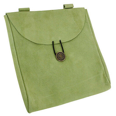 Medieval Green Jester's Suede Leather Renaissance Carry All Belt Pouch