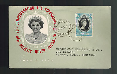 1953 Bahamas Coronation to England first day cover QE2 Queen Elizabeth II FDC