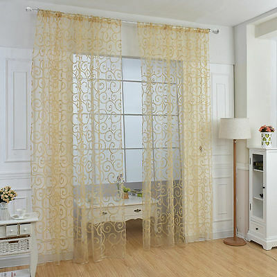 Yellow Floral Tulle Voile home Window Curtains Drape Sheer Scarf Valances