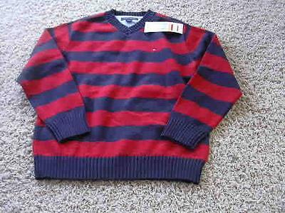 NEW Tommy Hilfiger Size7 Rugby Sweater Red Blue NWT Macys Boys V Neck