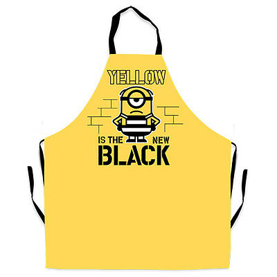 Minoins Minion Despicable Me 3 'Yellow is the new black' print BBQ Kitchen Apron