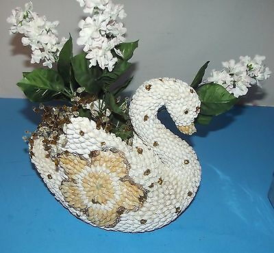 "Shell Covered Swan Decorative Planter Vintage White Biegh Gold Tone about 9""x10"""