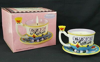 RARE 2004 Mary Engelbreit QUEEN MOTHER TEA CUP SAUCER Crown Checkerboard Candle