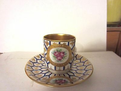 Franziska Hirsch German Dresden Demitasse Cup Saucer Blue Gold Rose Germany NR