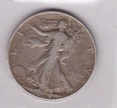 Usa 1938 Silver Half Dollar In Used Fine Condition
