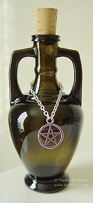 ELIXIR BOTTLE WITH PENTAGRAM & CORK 200ml Wicca Pagan Witch Goth