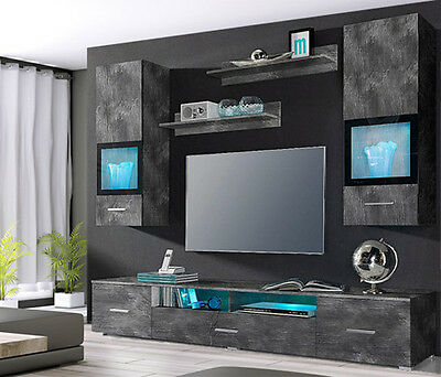 wohnwand anbauwand mit h ngevitrine 5 teilig schiefer neu 888114 eur 239 00 picclick de. Black Bedroom Furniture Sets. Home Design Ideas