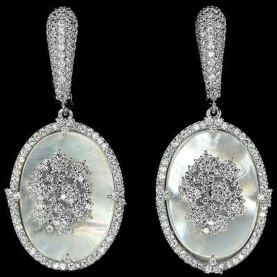 Alluring Natural Aaa Mother Of Pearl & White Cz Sterling 925 Silver Earring