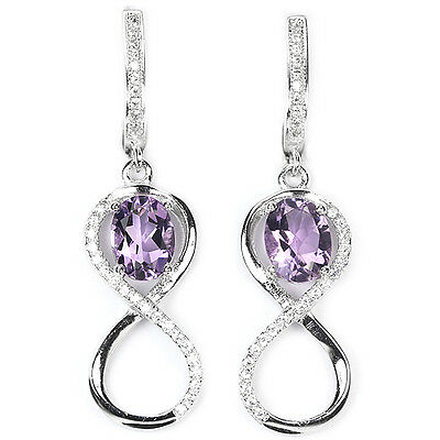 Natural 8X6 Mm. Oval Aaa Purple Amethyst & White Cz Sterling 925 Silver Earring