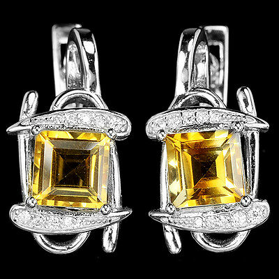 Dazzling Naural Orangish Yellow Citrine & White Cz Sterling 925 Silver Earring