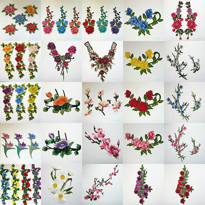 Flower Embroidered Sewing Patches Craft Transfer Wedding Dress Applique Floral