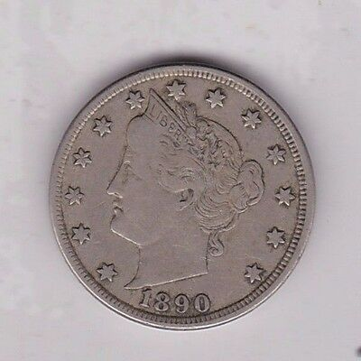 1890 Usa 5 Cents In Near Very Fine Condition
