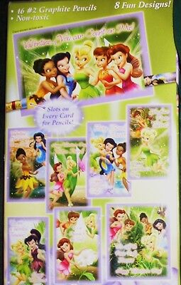 New Box Tinker Bell Great Rescue Fairies Pixies Valentine Cards Matching Pencils