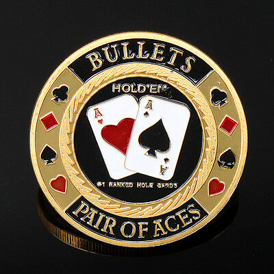 Metal Poker Guard Card Hand Cover Protector Coin Chip Golden Plated With Case
