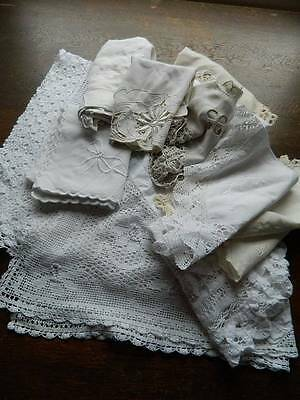 Bundle 17 items vintage white table linen lace & embroidery 2 cloths topper mats