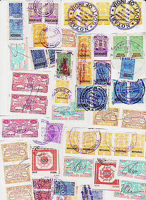 India 100 Revenue Fiscal Stamps Lot On Paper