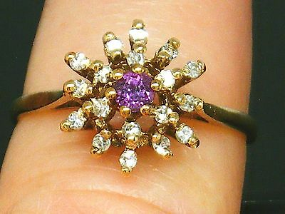 9ct Gold 9K Gold  Vintage Ruby & Diamond Snowflake cluster ring size N