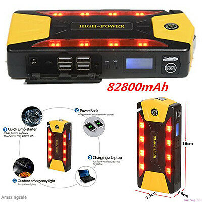 82800mAh Charger Booster Car Jump Starter Emergency Power Bank Battery 4USB