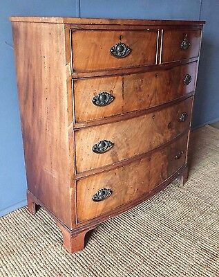 An Antique George III Mahogany Bow Front Chest Of Drawers With Later Handles VGC