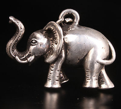 Tibet Silver Lovely Elephant Statue Figurine Necklace Pendant Collectable