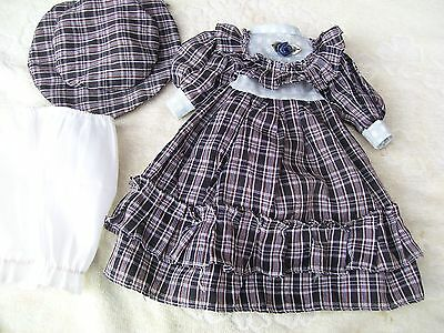 Alte Puppenkleidung BlackWhite Dress Hat Outfit vintage Doll clothes 40 cm Girl