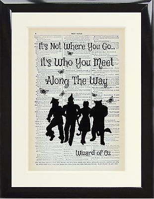 Dictionary Art Print Page Wizard of Oz It's not where you go Tin Man Gift Poster