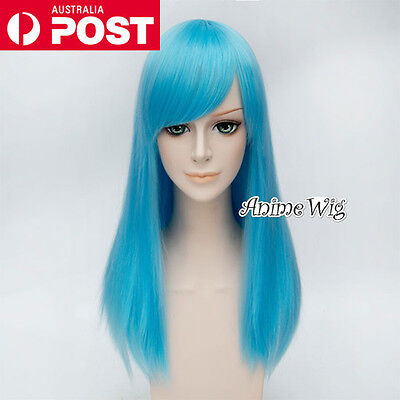 55CM Sky Blue Long Straight Lolita Fashion Lady Cosplay Wig Heat Resistant