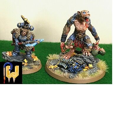 Warhammer 40K Army Space Wolves Bran Redmaw in Human & Werewolf Form Painted