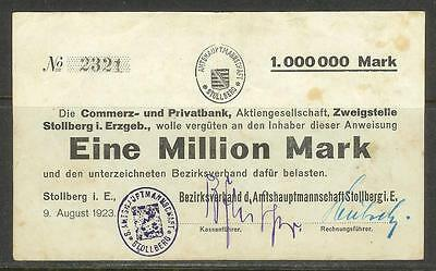 GERMANY (Stollberg, Privatbank) - 1 Million Mark Banknote (9-Aug-1923) F-VF