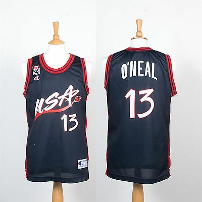 Vintage Champion Team Usa Basketball Jersey Vest Shirt Shaq #13 O'neal 90's L