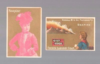 "Lot Of 2 Victorian ""Soapine""  Kendall Mfg. Providence RI Trade Cards c:1890's"