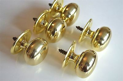 "5 Quality English Made 1 1/2"" Brass Screw In Door Knob Drawer Pull Knob Cb14"