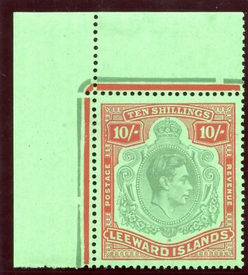 Leeward Islands 1947 KGVI 10s deep green & deep vermilion/green MNH. SG 113c.