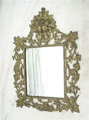 Vintage Brass Ornate Art Nouveau Victorian Beveled Wall Mirror Vanity Face