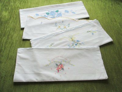 VINTAGE PILLOWCASES with EMBROIDERY DECORATION- COLL. of 4