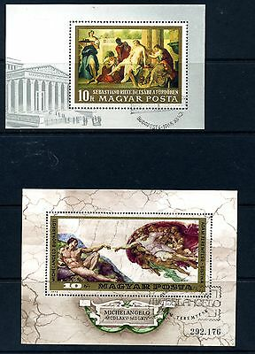 Hungary art on stamps 4x minisheets only 35p p/p