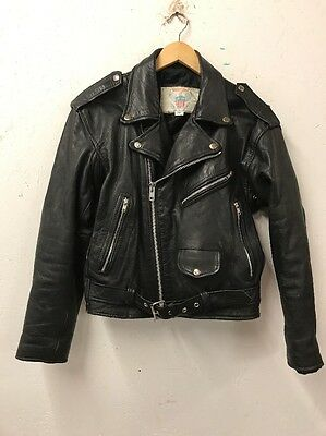Size S Vanguard Black Genuine Leather Zip Through Biker Motorbike Jacket