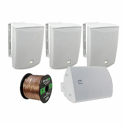 4 x Dual 125 Watt Indoor/Outdoor Speakers (White), Enrock 16-G 50FT Speaker Wire