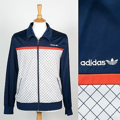 Adidas Mens Tracksuit Jacket Vintage Top Zip Navy Blue German Shepherd Wavey S