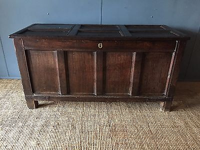 Huge 5ft Antique Early 18th Century Oak Panelled Coffer Blanket Box Linen Chest