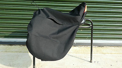Ride on Saddle Cover BLACK Waterproof with RED Tartan Check Fleece Lining