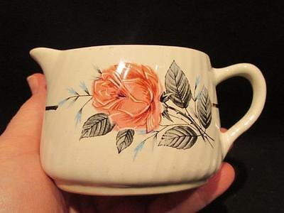 Barratts Delphatic Ware 575.597 Vintage Cream Pitcher Roses with Grey Leaves