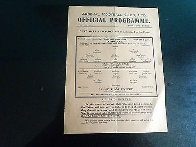 ARSENAL v WEST HAM UNITED Football League south cup 10th April 1942/43
