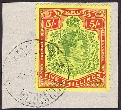 Bermuda 1938 SG118 5/- Green and Red Perf 14 on piece Superb Used