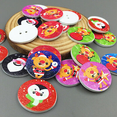 25X Christmas Wooden oval Buttons Fit Sewing crafts scrapbooking Christmas 25mm