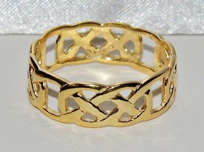 Men's 9 Ct Yellow Gold On Silver Filigree Celtic Band Ring - Size T