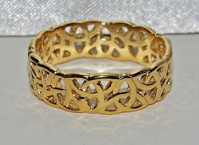 Men's 9 Ct Yellow Gold On Silver Filigree Celtic Band Ring ~ Size U